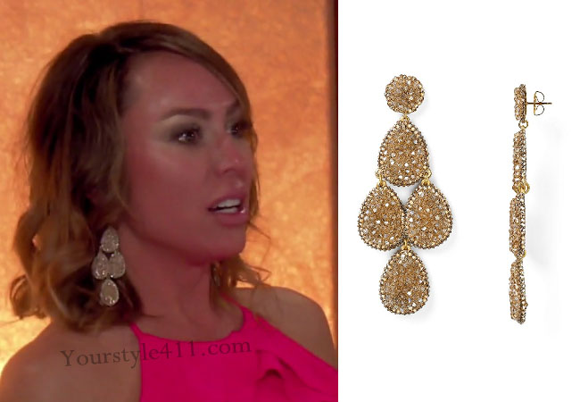 Real Housewives of Orange County, RHOC, Kelly Dodd style, Kelly Dodd fashion, #kelly dodd, bravotv.com, bravotv.com, #RHOC, Kelly Dodd outfit, #RealHousewivesOrangeCounty, chandelier earrings, roni blanshay earrings, gold drop earrings, shop your tv, worn on tv, tv fashion, clothes from tv shows, Real Housewives of Orange County outfits, bravo, Season 11, reality tv clothes