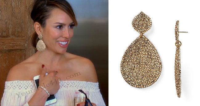 Real Housewives of Orange County, RHOC, Kelly Dodd, Kelly Dodd style, Kelly Dodd fashion, #kellydodd, bravotv.com, gold earrings, roni blanshay, gold teardrop earrings, #RHOC, Kelly Dodd outfit, #RealHousewivesOrangeCounty, worn on tv, tv fashion, clothes from tv shows, Real Housewives of Orange County outfits, bravo, Season 11, reality tv clothes
