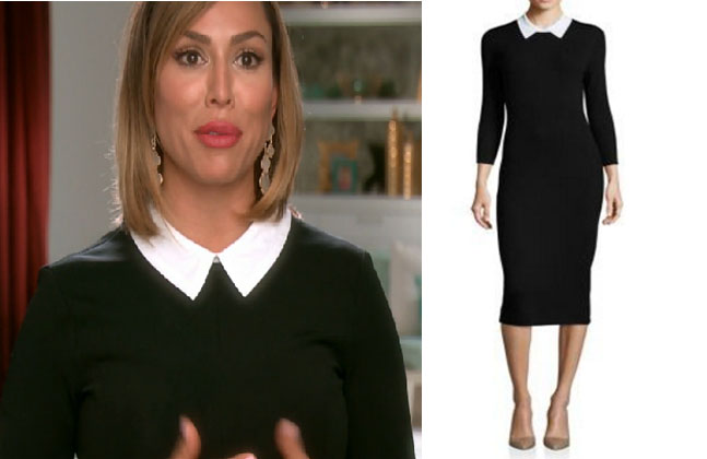 Real Housewives of Orange County, RHOC, Kelly Dodd, Kelly Dodd style, Kelly Dodd fashion, #kellydodd, black dress white collar, black dress contrast collar, black collared dress, #RHOC, Kelly Dodd outfit, #RealHousewivesOrangeCounty, worn on tv, shop your tv, the take, bravotv.com, tv fashion, clothes from tv shows, Real Housewives of Orange County outfits, bravo, Season 11, reality tv clothes