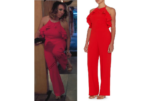 Real Housewives of Orange County, RHOC, Kelly Dodd, Kelly Dodd style, Kelly Dodd fashion, #kellydodd, red halter jumpsuit, red jumpsuit, red ruffle jumpsuit, intermix red jumpsuit, revolve jumpsuit, #RHOC, Heather Dubrow outfit, #RealHousewivesOrangeCounty, worn on tv, tv fashion, clothes from tv shows, Real Housewives of Orange County outfits, bravo, Season 11, reality tv clothes