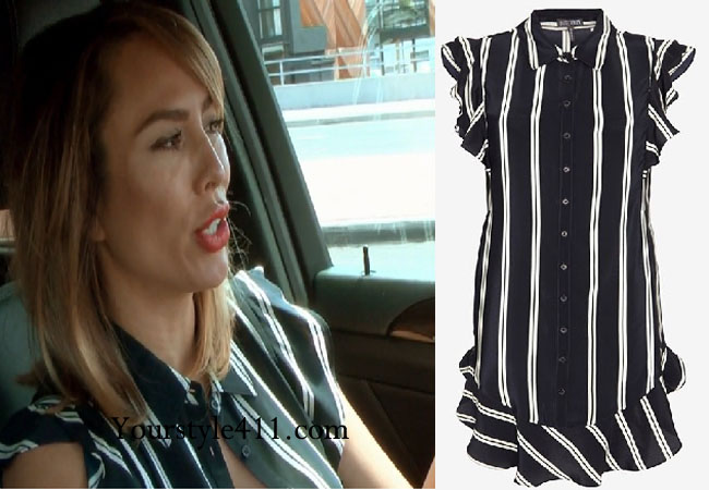 Real Housewives of Orange County, RHOC, Kelly Dodd style, Kelly Dodd fashion, #kelly dodd, bravotv.com, bravotv.com, #RHOC, Kelly Dodd outfit, #RealHousewivesOrangeCounty, black and white stripe dress, shop your tv, worn on tv, tv fashion, clothes from tv shows, Real Housewives of Orange County outfits, bravo, Season 11, reality tv clothes