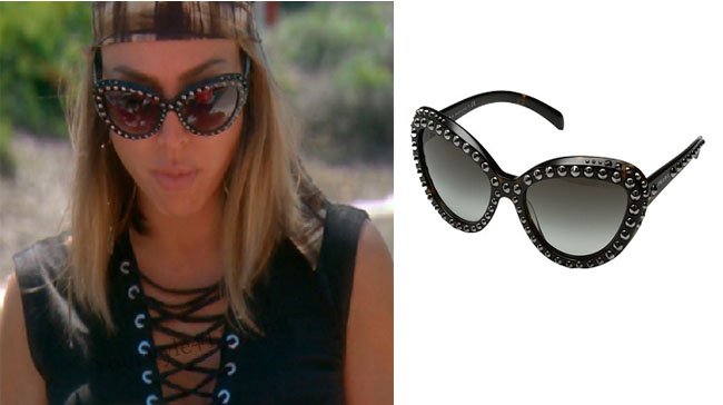 Real Housewives of Orange County, RHOC, Kelly Dodd, Kelly Dodd style, Kelly Dodd fashion, #kellydodd,  #RHOC, Kelly Dodd outfit, studded sunglasses, cat eye sunglasses, prada studded sunglasses, black sunglasses, bravotv.com, #RealHousewivesOrangeCounty, worn on tv, tv fashion, clothes from tv shows, Real Housewives of Orange County outfits, bravo, Season 11, reality tv clothes