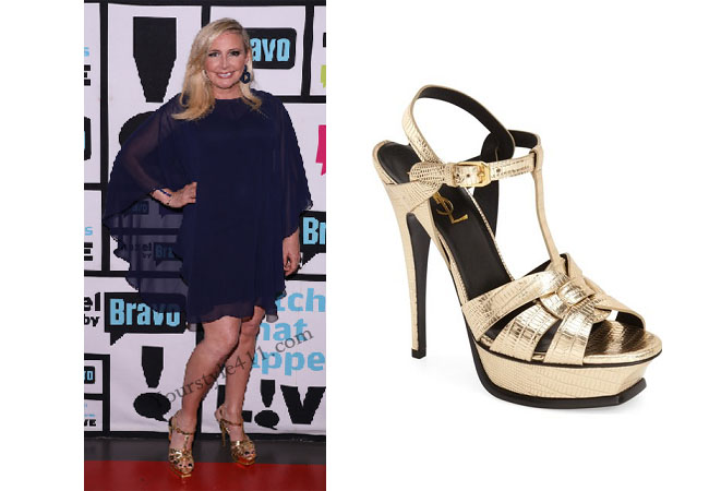 Real Housewives of Orange County, RHOC, Shannon Beador, Shannon Beador style, Shannon Beador fashion, #shannonbeador, gold heels, gold t-strap, saint laurent tribute, gold leather sandals, #RHOC, Shannon Beador outfit, Watch What Happens Live, #WWHL, #RealHousewivesOrangeCounty, worn on tv, tv fashion, clothes from tv shows, Real Housewives of Orange County outfits, bravo, Season 11, reality tv clothes