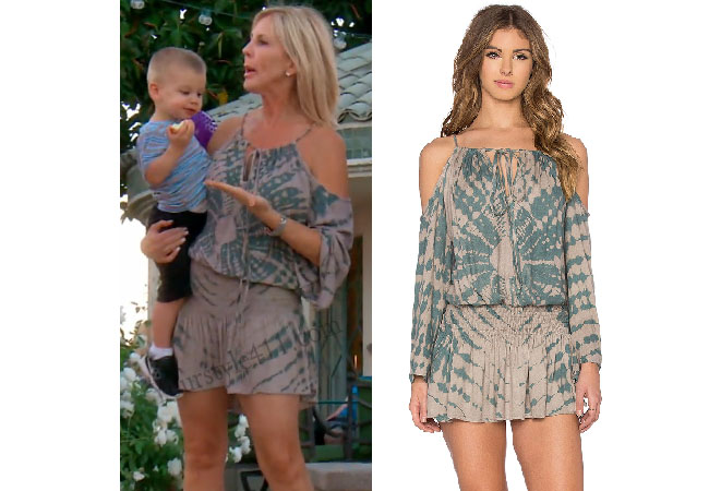 Real Housewives of Orange County, RHOC, Vicki Gunvalson, Vicki Gunvalson style, Vicki Gunvalson fashion, #vickigunvalson, tie dye dress, tie dye romper, #RHOC, Vicki Gunvalson outfit, #RealHousewivesOrangeCounty, worn on tv, tv fashion, clothes from tv shows, Real Housewives of Orange County outfits, bravo, Season 11, reality tv clothes