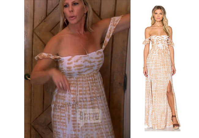 Real Housewives of Orange County, RHOC, Vicki Gunvalson, Vicki Gunvalsen style, Vickie Gunvalson fashion, #vickiegunvalson, #bravo, tie dye maxi dress, off the shoulder dress, tiare hawaii dress, #RHOC, Vicki Gunvalson outfit, #RealHousewivesOrangeCounty, worn on tv, tv fashion, clothes from tv shows, Real Housewives of Orange County outfits, bravo, Season 11, reality tv clothes