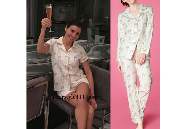 Real Housewives of Orange County, RHOC, Heather Dubrow, Heather Dubrow style, Heather Dubrow fashion, #heatherdubrow, PJs, champagne glass pajamas, shop your tv, thetake, bravotv.com, #RHOC, Heather Dubrow outfit, #RealHousewivesOrangeCounty, worn on tv, tv fashion, clothes from tv shows, Real Housewives of Orange County outfits, bravo, Season 11, reality tv clothes
