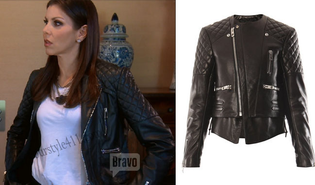 Real Housewives of Orange County, RHOC, Heather Dubrow, Heather Dubrow style, Heather Dubrow fashion, #heatherdubrow, leather jacket, quilted leather jacket, biker jacket, #RHOC, Heather Dubrow outfit, #RealHousewivesOrangeCounty, worn on tv, tv fashion, shop your tv, steal her style, the take, clothes from tv shows, Real Housewives of Orange County outfits, bravo, Season 11, reality tv clothes