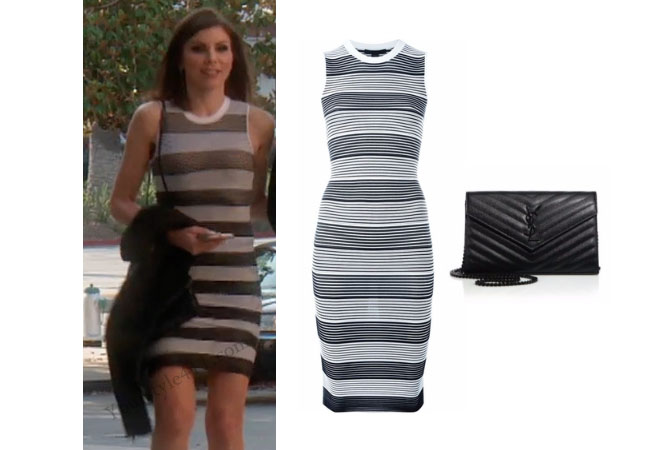 Real Housewives of Orange County, RHOC, Heather Dubrow, Heather Dubrow style, Heather Dubrow fashion, Heather Dubrow wardrobe, #heatherdubrow, alexander wang, striped dress, saint laurent purse, steal her style, bravotv.com, #RHOC, Heather Dubrow outfit, #RealHousewivesOrangeCounty, worn on tv, tv fashion, clothes from tv shows, Real Housewives of Orange County outfits, bravo, Season 11, reality tv clothes