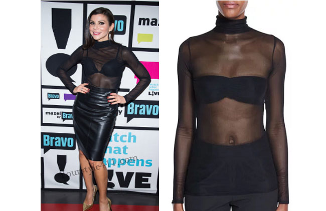 Real Housewives of Orange County, RHOC, Heather Dubrow, Heather Dubrow style, Heather Dubrow fashion, #heatherdubrow, Watch What Happens Live, black sheer top, cinq a sept, #WWHL, shop your tv, thetake, #RHOC, Heather Dubrow outfit, #RealHousewivesOrangeCounty, worn on tv, tv fashion, clothes from tv shows, Real Housewives of Orange County outfits, bravo, Season 11, reality tv clothes