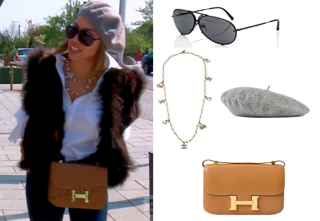 Real Housewives of Orange County, RHOC, Kelly Dodd, Kelly Dodd style, Kelly Dodd fashion, #kellydodd, Porsche sunglasses, hermes bag, hermes purse, Chanel necklace, grey beret, grey beanie, thetake, #RHOC, Kelly Dodd outfit, shop your tv, the take, bravotv.com, #RealHousewivesOrangeCounty, worn on tv, tv fashion, clothes from tv shows, Real Housewives of Orange County outfits, bravo, Season 11, reality tv clothes