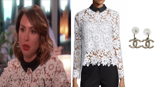 Real Housewives of Orange County, RHOC, Kelly Dodd, Kelly Dodd style, Kelly Dodd fashion, #kellydodd, steal her style, self portrait, white lace top, chanel earrings, chanel drop earrings, #RHOC, Kelly Dodd outfit, shop your tv, the take, bravotv.com, #RealHousewivesOrangeCounty, worn on tv, tv fashion, clothes from tv shows, Real Housewives of Orange County outfits, bravo, Season 11, reality tv clothes