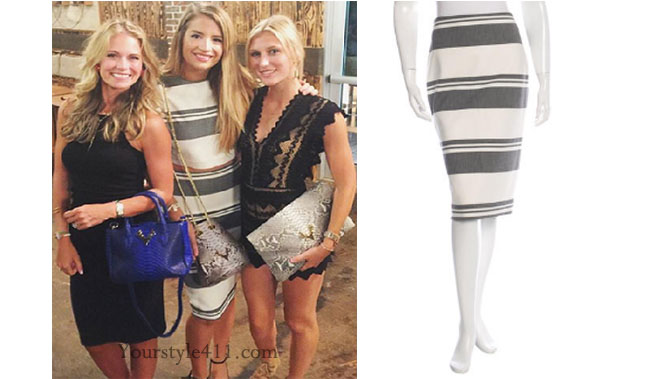 Southern Charm, Southern Charm style, Cameran Eubanks, Naomi Orlindo, Cameran Eubanks fashion, Cameran Eubanks wardrobe, #cameraneubanks, #SC, #southerncharm, striped skirt and top, Elizabeth and James, Cameran Eubanks  outfit, shop your tv, the take,  worn on tv, tv fashion, clothes from tv shows, Southern Charm outfits, bravo, Season 3, social media, reality tv clothes