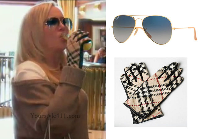 Real Housewives of Orange County, RHOC, Shannon Beador, Shannon Beador style, Shannon Beador fashion, #shannonbeador, burberry gloves, aviators, rayban aviator sunglasses, shop your tv, bravotv.com, thetake, #RHOC, Shannon Beador outfit, Watch What Happens Live, #WWHL, #RealHousewivesOrangeCounty, worn on tv, tv fashion, clothes from tv shows, Real Housewives of Orange County outfits, bravo, Season 11, reality tv clothes