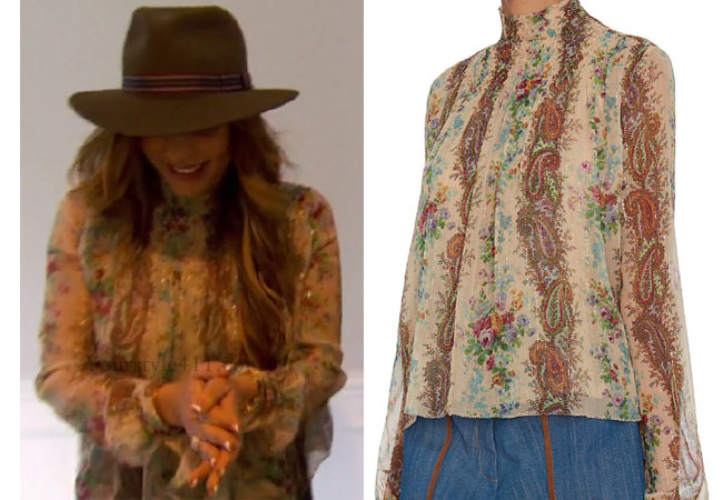 Real Housewives of New Jersey, RHONJ, Siggy Flicker outfit, #RHONJ, #RHNJ, #bravo, Real Housewives of New Jersey style, Real Housewives of New Jersey fashion, Siggy Flicker style, Siggy Flicker wardrobe, bravotv.com, Siggy Flicker wardrobe, floral top, intermixonline print top, #RealHousewivesNewJersey, social media, bravotv.com, shop your tv, the take, worn on tv, tv fashion, clothes from tv shows, Real Housewives of New York outfits, bravo, shop your tv, reality tv clothes