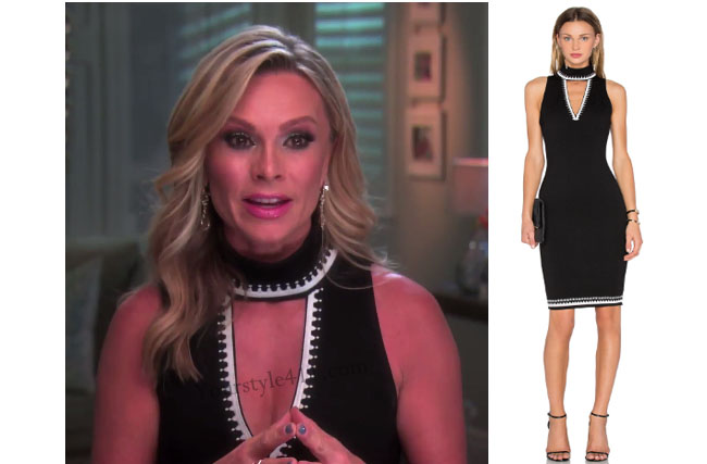 Real Housewives of Orange County, RHOC, Tamara Judge style, Tamara Judge, Tamara Judge fashion, Tamra Judge wardrobe, black halter dress, black white dress, bravotv.com, #RHOC, Tamara Judge outfit, bravotv.com, Interview, #RealHousewivesOrangeCounty, shop your tv, the take, worn on tv, tv fashion, clothes from tv shows, Real Housewives of Orange County outfits, bravo, Season 11, reality tv clothes