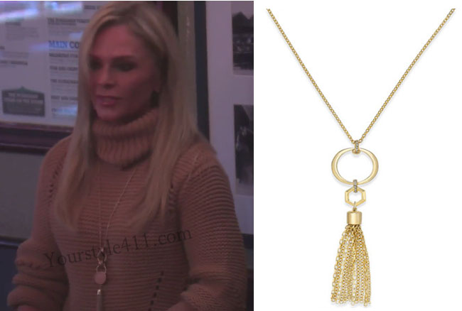 Real Housewives of Orange County, RHOC, Tamara Judge style, Tamara Judge, Tamara Judge fashion, Tamra Judge wardrobe, gold pendant necklace, gold tassel necklace, gold tassel pendant necklace, bravotv.com, #RHOC, Tamara Judge outfit, #RealHousewivesOrangeCounty, shop your tv, the take, worn on tv, tv fashion, clothes from tv shows, Real Housewives of Orange County outfits, bravo, Season 11, reality tv clothes, Ireland