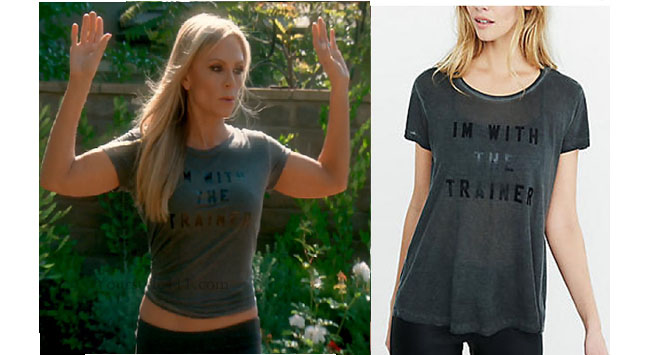 Real Housewives of Orange County, RHOC, Tamara Judge style, Tamara Judge, Tamara Judge fashion, t-shirt, I'm with the trainer tee, workout tee, grey tee, style her style, bravotv.com, #RHOC, Tamara Judge outfit, Watch What Happens Live, #WWHL, #RealHousewivesOrangeCounty, shop your tv, the take, worn on tv, tv fashion, clothes from tv shows, Real Housewives of Orange County outfits, bravo, Season 11, reality tv clothes