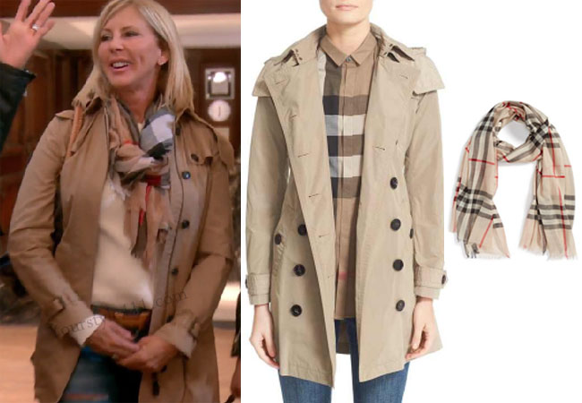 Real Housewives of Orange County, RHOC, Vickie Gunvalson, Vicki Gunvalson fashion, Vicki Gunvalson wardrobe, Vicki Gunvalson style, burberry trench, burberry scarf, #RHOC, #RealHousewivesOrangeCounty, Season 11, shop your tv, the take, bravotv.com, worn on tv, tv fashion, clothes from tv shows, Real Housewives of Orange County outfits, bravo, reality tv clothes