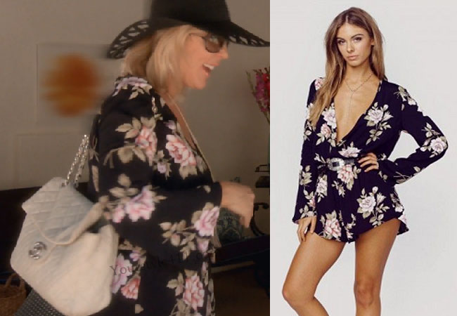 Real Housewives of Orange County, RHOC, Vickie Gunvalson, floral romper, black romper, black playsuit, floral playsuit, planet blue romper, #RHOC, #RealHousewivesOrangeCounty, Season 11, shop your tv, the take, bravotv.com, worn on tv, tv fashion, clothes from tv shows, Real Housewives of Orange County outfits, bravo, reality tv clothes