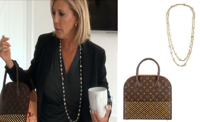 Real Housewives of Orange County, RHOC, Vickie Gunvalson, Vicki Gunvalson fashion, Vicki Gunvalson wardrobe, Vicki Gunvalson style, louis vuitton purse, louis vuitton christian louboutin shopper, chanel pearl crystal necklace, bravotv.com, steal her style, #RHOC, #RealHousewivesOrangeCounty, Season 11, shop your tv, the take, bravotv.com, worn on tv, tv fashion, clothes from tv shows, Real Housewives of Orange County outfits, bravo, reality tv clothes