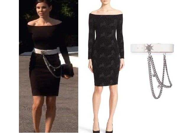 Real Housewives of Orange County, RHOC, Heather Dubrow, Heather Dubrow style, Heather Dubrow fashion, #heatherdubrow, black off the shoulder dress, white belt, alexander mcqueen belt, black tight dress, shop your tv, the take, #RHOC, Heather Dubrow outfit, #RealHousewivesOrangeCounty, worn on tv, tv fashion, clothes from tv shows, Real Housewives of Orange County outfits, bravo, Season 11, reality tv clothes