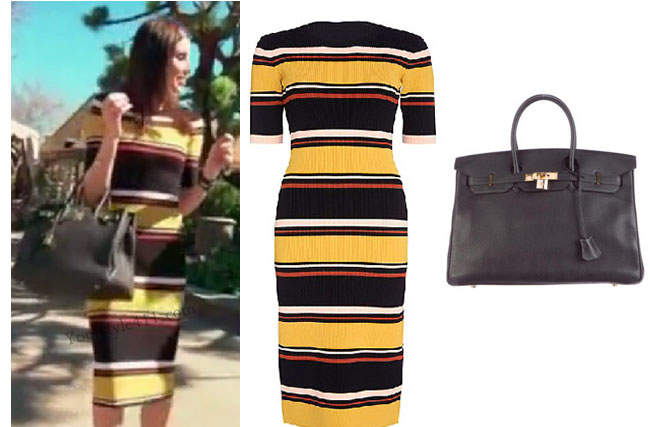 Real Housewives of Orange County Reunion, Real Housewives of Orange County, RHOC, Heather Dubrow, Heather Dubrow style, Heather Dubrow fashion, #heatherdubrow, yellow striped dress, intermixonline striped dress, birken bag, hermes bag, black hermes bag, black kelly bag, steal her style, the take, #RHOC, Heather Dubrow outfit, #RealHousewivesOrangeCounty, worn on tv, tv fashion, clothes from tv shows, Real Housewives of Orange County outfits, bravo, Season 11, reality tv clothes
