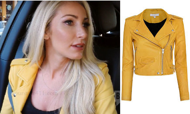 Million Dollar Listing Los Angeles, Heather Bilyeu Altman, IRO leather jacket, yellow jacket, Ashville jacket, steal her style, shop your tv, the take, bravotv. steal her style, worn on tv, tv fashion, clothes from tv shows, Million Dollar Listing Los Angeles outfits, bravo, Season 9, reality tv clothes