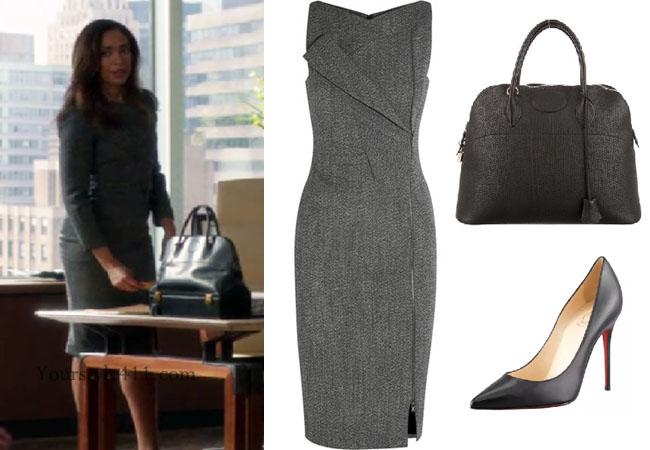 Suits, steal her style, shop your tv, the take, Suits wardrobe, Jessica Pearson outfits, Jessica Pearson wardrobe, Jessica Pearson fashion, Suits fashion, Suits dresses, worn on tv, tv fashion, clothes from tv shows, Suits outfits, usa network, law firm clothes, office dress, office work clothes, season 6, Suits style, Gina Torres, usanetwork.com, work outfits, work fashion, work style, #Suits, grey work dress, black work bag, antonio berardi