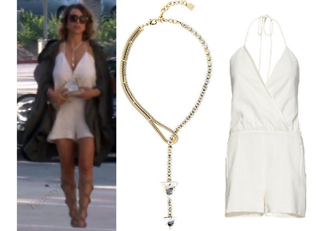 Real Housewives of Orange County, RHOC, Kelly Dodd, Kelly Dodd style, Kelly Dodd fashion, #kellydodd, white romper, lariat necklace, gold necklace, Y necklace, gladiator sandals, #RHOC, Kelly Dodd outfit, shop your tv, the take, bravotv.com, #RealHousewivesOrangeCounty, worn on tv, tv fashion, clothes from tv shows, Real Housewives of Orange County outfits, bravo, Season 11, reality tv clothes