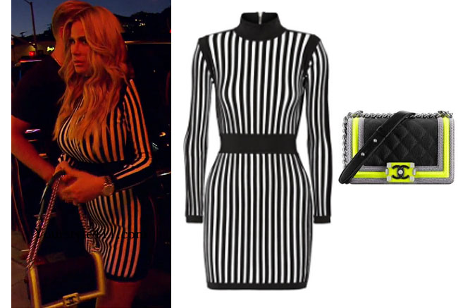 Kim Zolciak Biermann, Don't Be Tardy, Don't Be Tardy fashion, Don't Be Tardy style, Kim Zolciak wardrobe, Brielle Biermann clothes, #dontbetardy, #goals, steal her style, balmain striped dress, black and white striped dress, fluorescent chanel purse, chanel boy bag, bravotv.com, shop your tv, the take, Brielle Biermann outfits, worn on tv, tv fashion, clothes from tv shows, Real Housewives of Orange County outfits, bravo, reality tv clothes