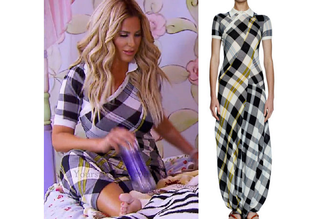 Kim Zolciak Biermann, Don't Be Tardy, Don't Be Tardy fashion, Don't Be Tardy style, Kim Zolciak wardrobe, Brielle Biermann clothes, #dontbetardy, #goals, plaid dress, checked dress, black white yellow dress, steal her style, bravotv.com, shop your tv, the take, Brielle Biermann outfits, worn on tv, tv fashion, clothes from tv shows, Don't Be Tardy outfits, bravo, reality tv clothes