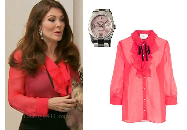 Vanderpump Rules, Lisa Vanderpump style, Lisa Vanderpump, Lisa Vanderpump fashion, #VPR, bravotv.com, pink blouse, pink ruffle blouse, red blouse, rolex watch, pink watch, red ruffle blouse, Gucci ruffle blouse, #Vanderpumprules, Lisa Vanderpump outfit, steal her style, shop your tv, the take, worn on tv, tv fashion, clothes from tv shows, Vanderpump Rules outfits, bravo, Season 5, reality tv clothes