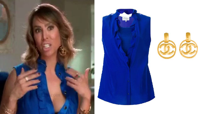 Real Housewives of Orange County, RHOC, Kelly Dodd, Kelly Dodd style, Kelly Dodd fashion, #kellydodd, blue ruffle sleeveless top, gold chanel earrings, blue sleeveless shirt, steal her style, #RHOC, Kelly Dodd outfit, shop your tv, the take, bravotv.com, #RealHousewivesOrangeCounty, worn on tv, tv fashion, clothes from tv shows, Real Housewives of Orange County outfits, bravo, Season 11, reality tv clothes