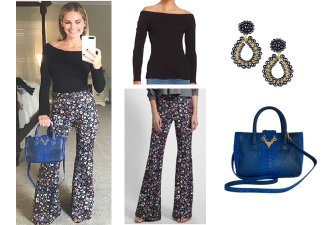 Southern Charm, Southern Charm style, Cameran Eubanks, Cameran Eubanks, Cameran Eubanks fashion, Cameran Eubanks wardrobe, #cameraneubanks, #SC, #southerncharm, floral pants, blue bag, blue purse, black boat neck top, cynthia rowley, Cameran Eubanks outfit, steal her style, shop your tv, the take, worn on tv, tv fashion, clothes from tv shows, Southern Charm outfits, bravo, Season 4, social media, reality tv clothes