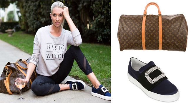 Vanderpump Rules, Stassi Schroeder style, Stassi Schroeder, Stassi Schroeder fashion, louis vuitton duffle bag, roger vivier shoes, basic witch sweatshirt, @stassischroeder, bravotv.com, #Vanderpumprules, #pumprules, Stassi Schroeder outfit, steal her style, shop your tv, the take, worn on tv, tv fashion, clothes from tv shows, Vanderpump Rules outfits, bravo, Season 5, reality tv clothes