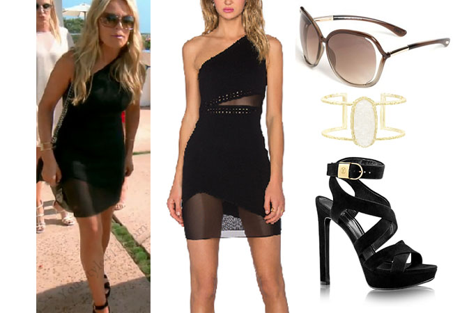 Real Housewives of Orange County, RHOC, Kelly Dodd, Kelly Dodd style, Kelly Dodd fashion, #kellydodd, black one sleeve dress, black strappy sandals, louis vuitton black strappy sandals, kendra scott cuff bracelet, tom ford raquel brown sunglasses, #RHOC, Kelly Dodd outfit, shop your tv, the take, bravotv.com, #RealHousewivesOrangeCounty, worn on tv, tv fashion, clothes from tv shows, Real Housewives of Orange County outfits, bravo, Season 11, reality tv clothes