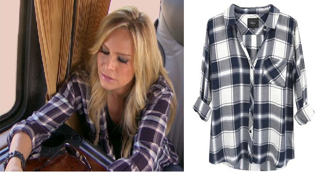 Real Housewives of Orange County, RHOC, Tamara Judge style, Tamara Judge, Tamara Judge fashion, plaid shirt, rails shirt, navy plaid shirt, bravotv.com, #RHOC, Tamara Judge outfit, Watch What Happens Live, #WWHL, #RealHousewivesOrangeCounty, shop your tv, the take, worn on tv, tv fashion, clothes from tv shows, Real Housewives of Orange County outfits, bravo, Season 11, reality tv clothes
