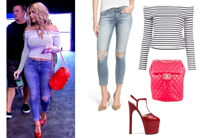 Kim Zolciak Biermann, Don't Be Tardy, Don't Be Tardy fashion, Don't Be Tardy style, Kim Zolciak wardrobe, Brielle Biermann clothes, #dontbetardy, #goals, Derek Lam striped top, striped off the shoulder top, distressed jeans, rag and bone denim, red backpack, Season 5, bravotv.com, shop your tv, the take, Brielle Biermann outfits, worn on tv, tv fashion, clothes from tv shows, Don't Be Tardy outfits, bravo, reality tv clothes