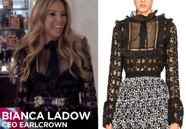 Ladies of London, steal her style, shop your tv, the take, worn on tv, bravotv.com, Sophie Stansbury wardrobe, tv fashion, clothes from tv shows, Ladies of London outfits, Season 3, bravo, reality tv clothes, self portrait black lace blouse, black lace blouse, black lace romper, black lace playsuit