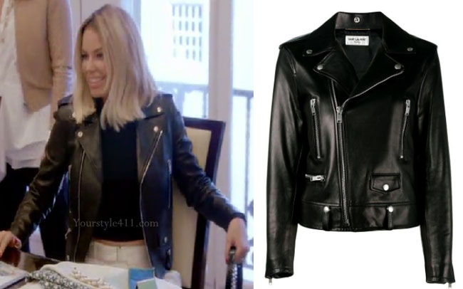 Ladies of London, Caroline Stanbury, @carolinestanbury, Caroline Stanbury style, Caroline Stanbury fashion, steal her style, shop your tv, the take, worn on tv, bravotv.com, Caroline Stansbury wardrobe, tv fashion, clothes from tv shows, Ladies of London outfits, Season 3, episode 2, bravo, reality tv clothes, black leather jacket, black biker jacket