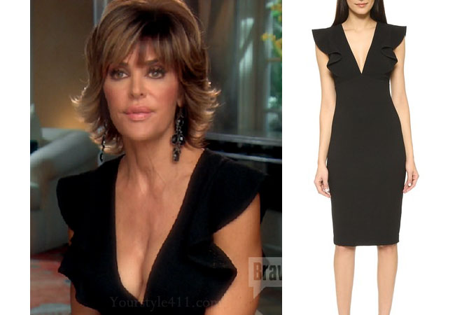 Real Housewives of Beverly Hills, RHBH, RHOBH, Lisa Rina fashion, Lisa Rinna, Lisa Rinna fashion, Lisa Rinna style, Lisa Rinna wardrobe, #RHOBH, #RealHousewivesBeverlyHills, steal her style, the take, shop your tv, worn on tv, tv fashion, clothes from tv shows, Real Housewives of Beverly Hills outfits, bravo, reality tv clothes, Season 7, black dress, Interview black dress, black ruffle sleeve dress
