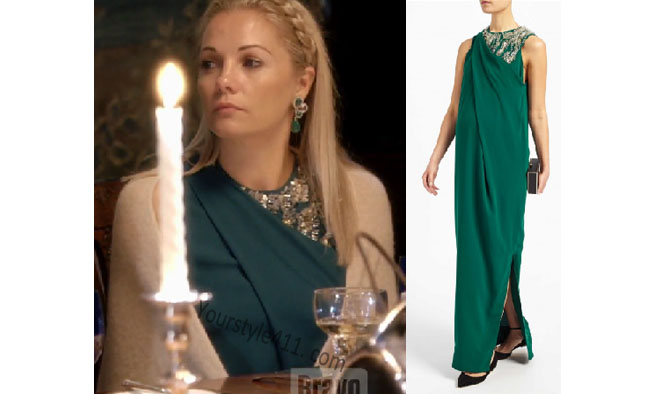 Ladies of London, Caroline Fleming, @carolinestanbury, Caroline Fleming style, Caroline Fleming fashion, steal her style, shop your tv, the take, worn on tv, bravotv.com, Caroline Fleming wardrobe, tv fashion, clothes from tv shows, Ladies of London outfits, Season 3, bravo, reality tv clothes, green long dress, green midi dress