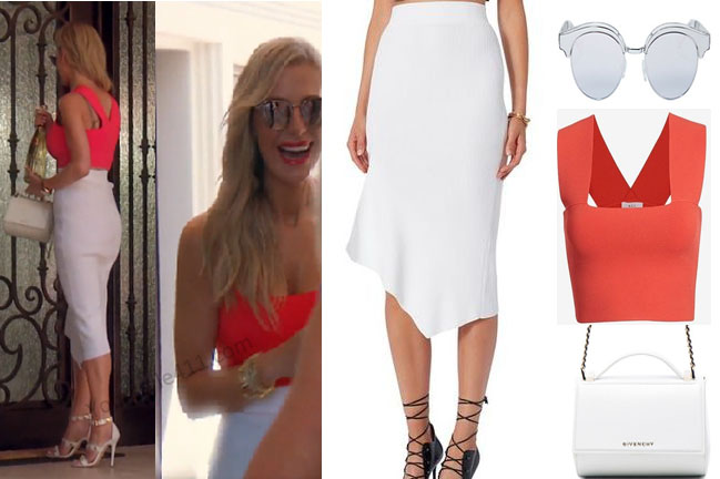 Real Housewives of Beverly Hills, RHBH, RHOBH, Dorit Kemsley, Dorit Kemsley fashion, Dorit Kemsley style, Dorit Kemsley wardrobe, #RHOBH, #RealHousewivesBeverlyHills, steal her style, the take, shop your tv, worn on tv, tv fashion, clothes from tv shows, Real Housewives of Beverly Hills outfits, bravo, reality tv clothes, Season 7, coral top, white asymetric skirt, white bag, ALC crop top, cushnie et skirt