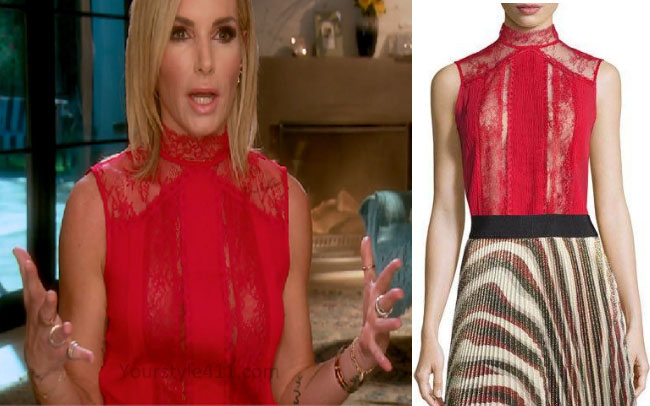 Real Housewives of Beverly Hills, Real Housewives of Beverly Hills Style, RHBH, RHOBH, Eden Sassoon fashion, Eden Sassoon, Eden Sasson, Eden Sassoon fashion, Eden Sassoon style, Eden Sassoon wardrobe, #RHOBH, #RealHousewivesBeverlyHills, steal her style, the take, shop your tv, worn on tv, tv fashion, clothes from tv shows, Real Housewives of Beverly Hills outfits, bravo, reality tv clothes, Season 7, Interview red top, red lace top, Alice and Olivia Jannette top, red sleeveless top
