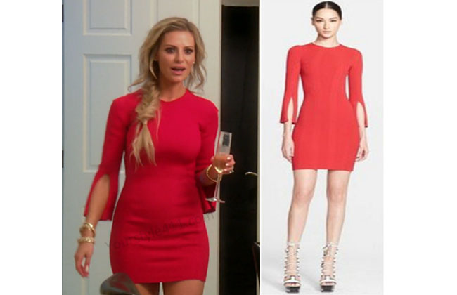 Real Housewives of Beverly Hills, RHBH, RHOBH, Dorit Kemsley, Dorit Kemsley fashion, Dorit Kemsley style, Dorit Kemsley wardrobe, #RHOBH, #RealHousewivesBeverlyHills, steal her style, the take, shop your tv, worn on tv, tv fashion, clothes from tv shows, Real Housewives of Beverly Hills outfits, bravo, reality tv clothes, Season 7, Episode 5, red dress, red slit sleeve dress, alexander mcqueen