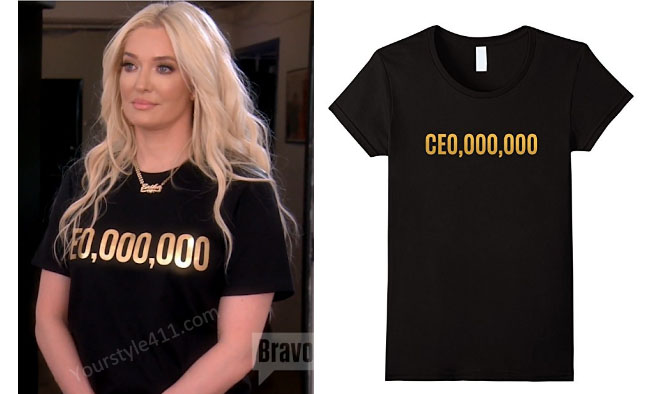 Real Housewives of Beverly Hills, RHBH, RHOBH, Erika Girardi, Erika Jayne, Erica Giradi, Erica Jane, #RHBH, #RealHousewivesBeverlyHills, shop your tv, the take, steal her style, worn on tv, tv fashion, clothes from tv shows, Real Housewives of Orange County outfits, bravo, reality tv clothes, Season 7, Episode 6, black ceo tee, ceo,000,000, black gold tee
