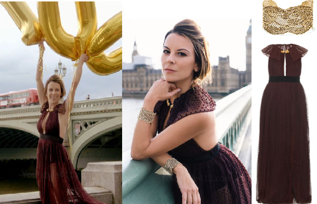 Ladies of London, Juliet Angus, @julietangus, Juliet Angus style, Juliet Angus fashion, Ladies of London fashion, Ladies of London style, steal her style, shop your tv, the take, worn on tv, bravotv.com, Juliet Angus wardrobe, tv fashion, clothes from tv shows, Ladies of London outfits, Season 3, bravo, reality tv clothes, burgundy dress, gold cuffs, halter dress, @julietangus