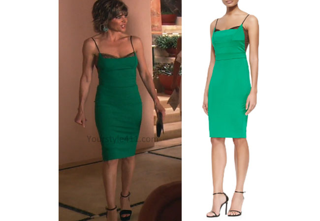 Real Housewives of Beverly Hills, RHBH, RHOBH, Lisa Rina fashion, Lisa Rinna, Lisa Rinna fashion, Lisa Rinna style, Lisa Rinna wardrobe, #RHOBH, #RealHousewivesBeverlyHills, steal her style, the take, shop your tv, worn on tv, tv fashion, clothes from tv shows, Real Housewives of Beverly Hills outfits, bravo, reality tv clothes, Season 7, Episode 11, green dress, green slip dress