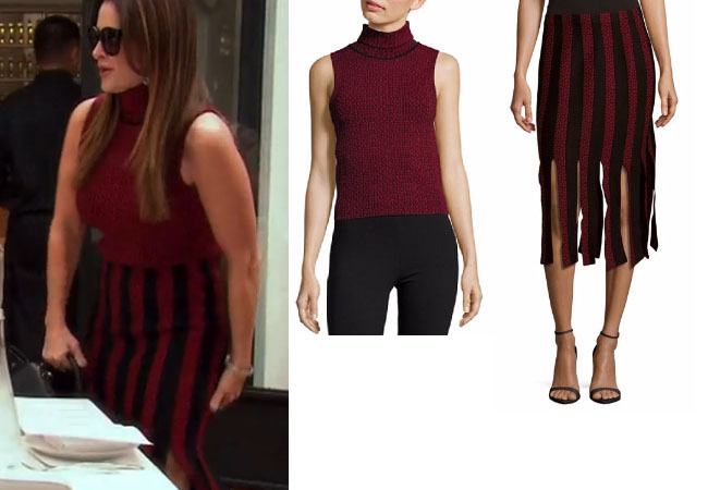 Real Housewives of Beverly Hills, RHBH, RHOBH, Kyle Richards, Kyle Richards Umansky,  Kyle Richards fashion, Kyle Richards style, Kyle Richards wardrobe, #RHOBH, #RealHousewivesBeverlyHills,  steal her style, the take, shop your tv, worn on tv, tv fashion, clothes from tv shows, Real Housewives of Beverly Hills outfits, bravo, reality tv clothes, Season 7, Episode 17, star style, red turtleneck top, red sleeveless dress, black and red skirt, cinq a sept