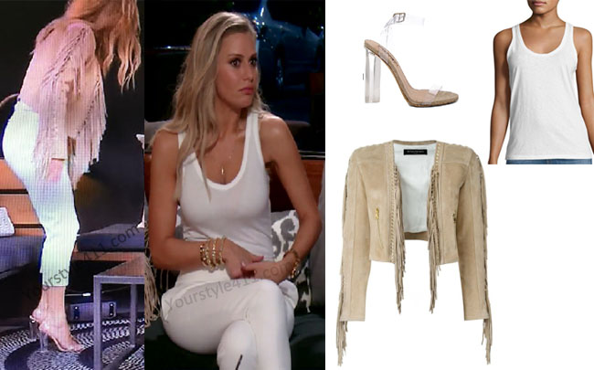 Real Housewives of Beverly Hills, RHBH, RHOBH, Dorit Kemsley, Dorit Kemsley fashion, Dorit Kemsley style, Dorit Kemsley wardrobe, #RHOBH, #RealHousewivesBeverlyHills, steal her style, the take, shop your tv, worn on tv, tv fashion, clothes from tv shows, Real Housewives of Beverly Hills outfits, bravo, reality tv clothes, Season 7, episode 4, white tanktop, beige fringe jacket, balmain fringe blazer, lucite heels, clear heels, clear sandals, tan fringe jacket